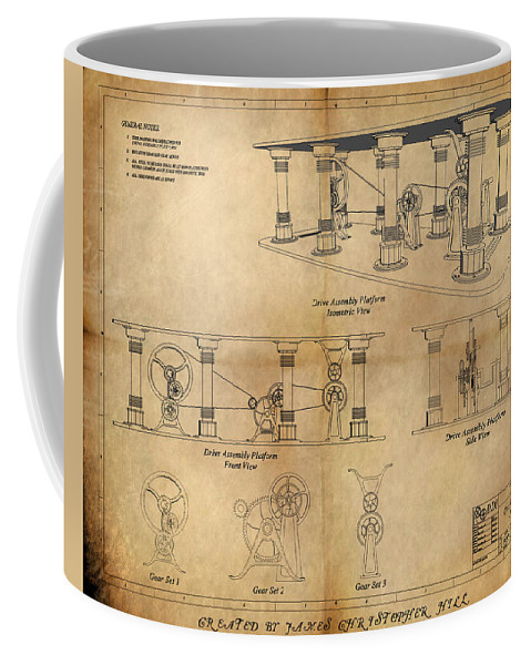 Steampunk; Gears; Housing; Cogs; Machinery; Lathe; Columns; Brass; Copper; Gold; Ratio; Rotation; Elegant; Forge; Industry; Copyright 2010 - James Christopher Hill Coffee Mug featuring the painting Drive Assembly Platform by James Christopher Hill