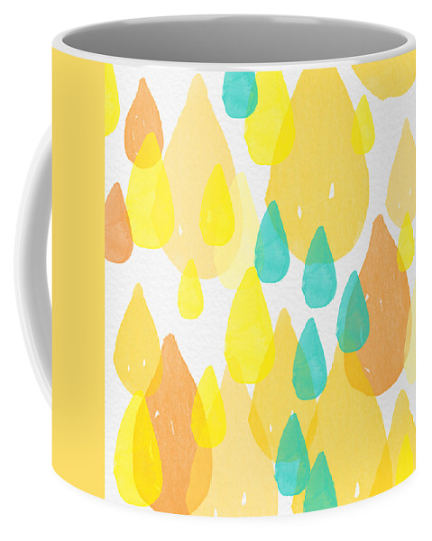 Abstract Painting Coffee Mug featuring the painting Drops Of Sunshine- Abstract Painting by Linda Woods