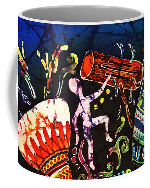 Drums Coffee Mug featuring the painting Drumbeat by Sue Duda