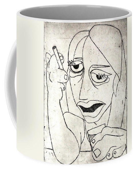 Clay Coffee Mug featuring the relief Drunk Girl by Thomas Valentine