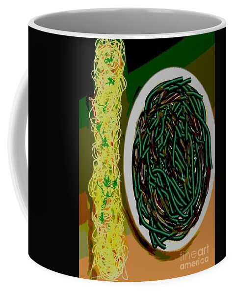 Stringbeans Coffee Mug featuring the painting Dry Sauteed Stringbeans by Lisa Owen-Lynch