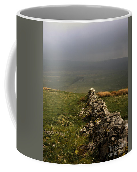 Drystone Wall Misty Kettlewell Wharfedale North Yorkshire England English Walls Limestone Upland Uplands Moor Moorlands Moorland Parks British Mist Misty [yorkshire Dales National Park] Landscape Landscapes Coffee Mug featuring the photograph Drystone Wall Misty Day Kettlewell Wharfedale North Yorkshire England by Michael Walters