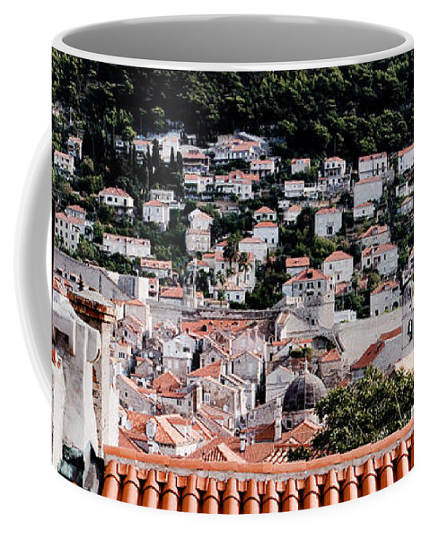 Rooftops Coffee Mug featuring the photograph Dubrovnik Rooftops Domes And North East Walls Against The Mountains From The Sea Walls by Weston Westmoreland
