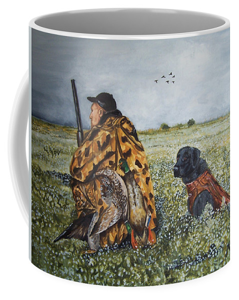 Duck Coffee Mug featuring the painting Duck Hunters by Kathy Laughlin