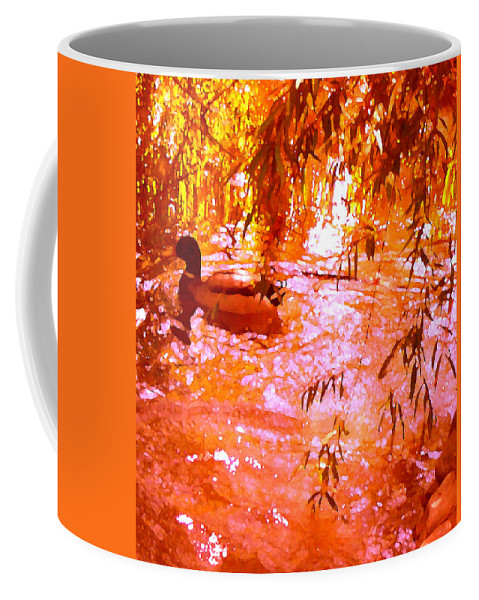 Landscapes Coffee Mug featuring the painting Duck In Warm Light by Amy Vangsgard