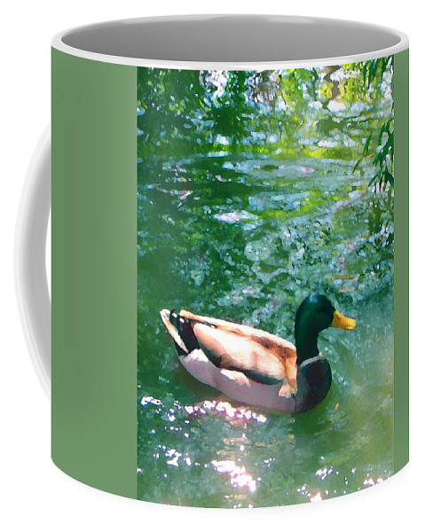Coffee Mug featuring the painting Duck On Green Pond by Amy Vangsgard