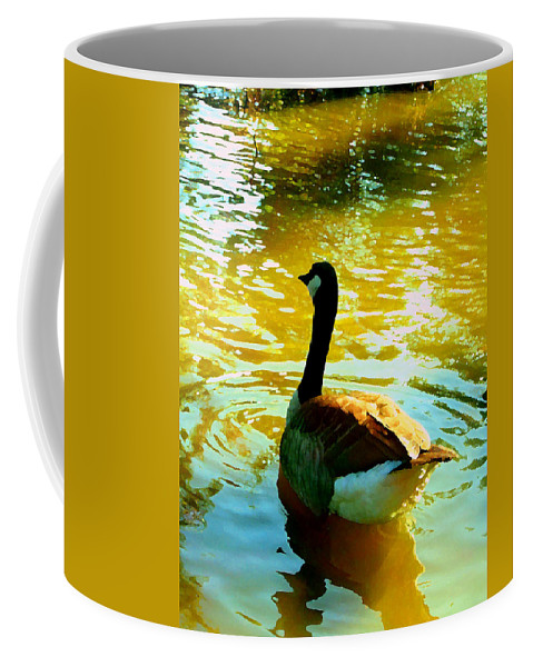 Animal Coffee Mug featuring the painting Duck Swimming Away by Amy Vangsgard
