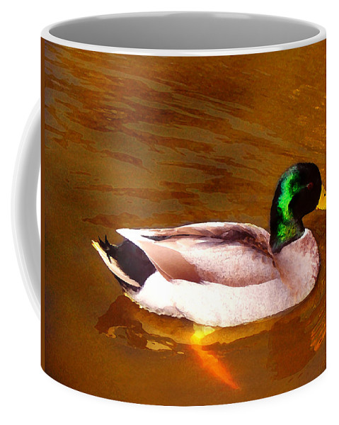Animal Coffee Mug featuring the painting Duck Swimming On Golden Pond by Amy Vangsgard