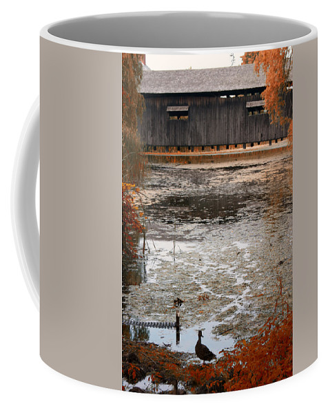 Covered Bridge Coffee Mug featuring the photograph Ducking Under The Bridge by Jeff Folger