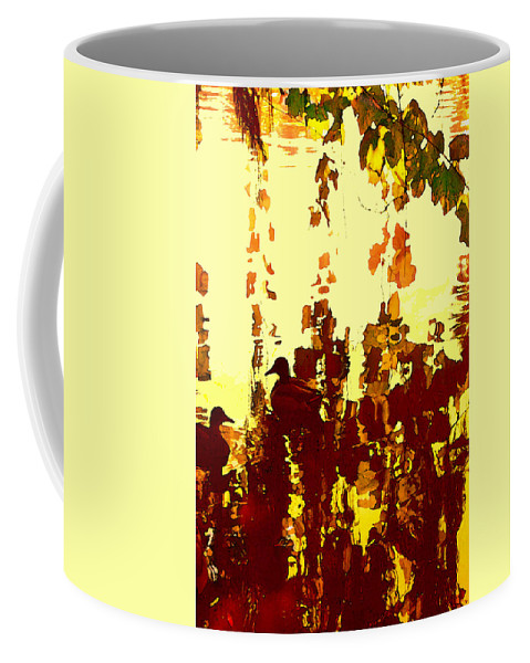 Landscape Coffee Mug featuring the painting Ducks On Red Lake 2 by Amy Vangsgard