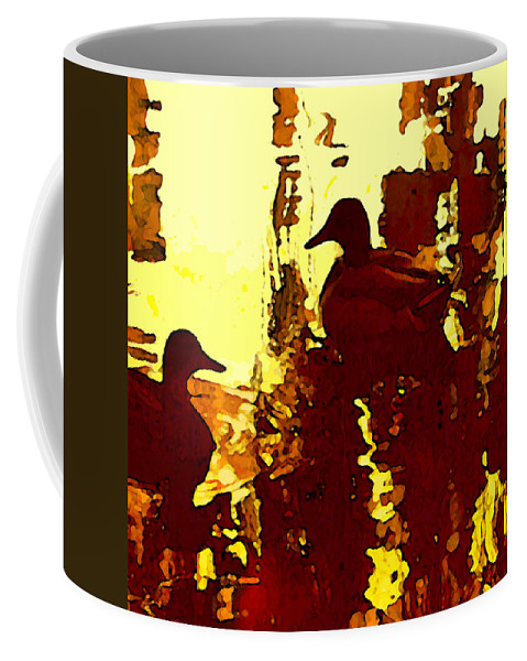 Landscape Coffee Mug featuring the painting Ducks On Red Lake 3 by Amy Vangsgard