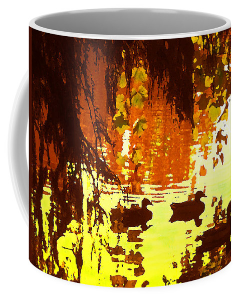 Coffee Mug featuring the painting Ducks On Red Lake by Amy Vangsgard