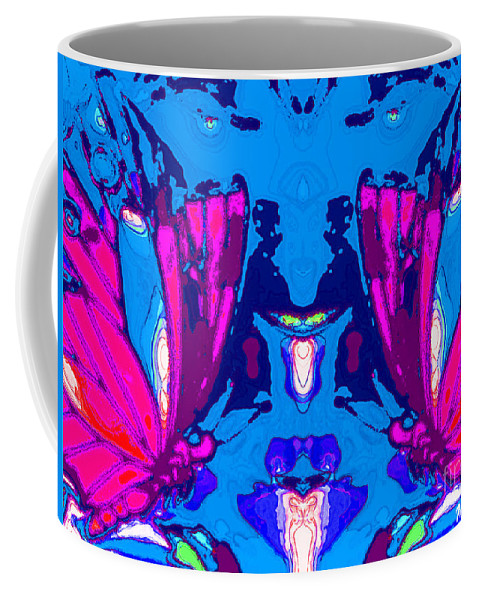 Art Coffee Mug featuring the mixed media Dueling Butterflies by Michelle Stradford