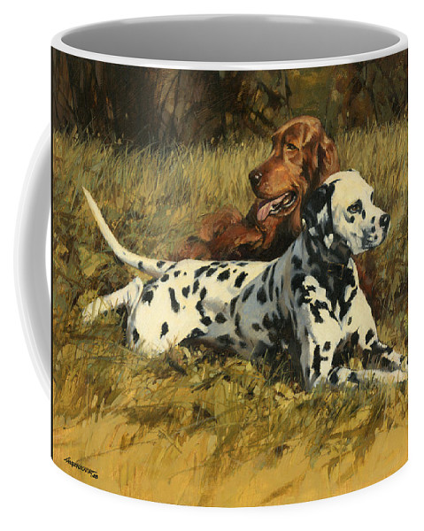 Dalmation Coffee Mug featuring the painting Duke N Dooley by Don Langeneckert