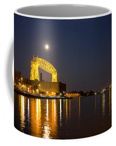 Duluth Coffee Mug featuring the photograph Duluth Aerial Lift Bridge by Penny Meyers