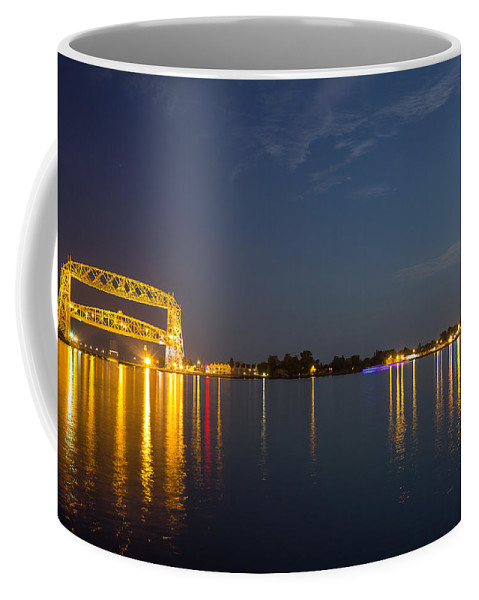 Duluth Coffee Mug featuring the photograph Duluth Harbor At Night by Penny Meyers