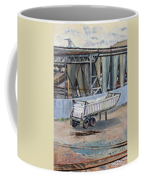 Industrial Landscape Painting Coffee Mug featuring the painting Dump Truck Bin And Steel Mill by Asha Carolyn Young