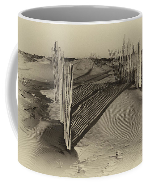 Outer Banks Coffee Mug featuring the photograph Dune Erosion Fence Outer Banks Nc Antique Plate Img_3761 by Greg Kluempers