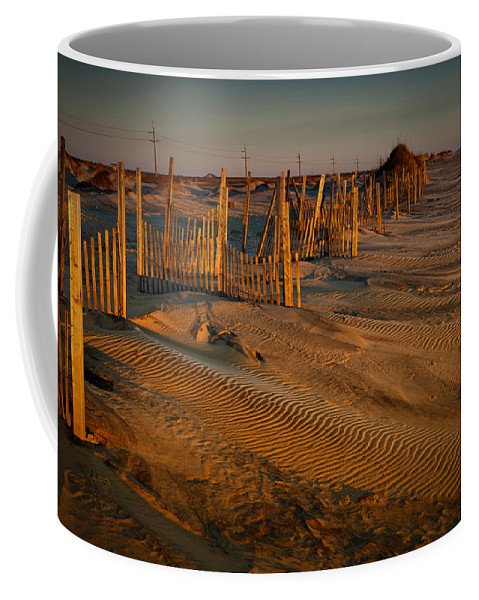 Outer Banks Coffee Mug featuring the photograph Dune Erosion Fence Outer Banks Nc Img3748 by Greg Kluempers