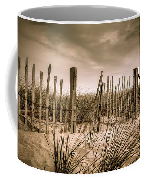 Landscape Coffee Mug featuring the photograph Dune Fence by Brian Caldwell