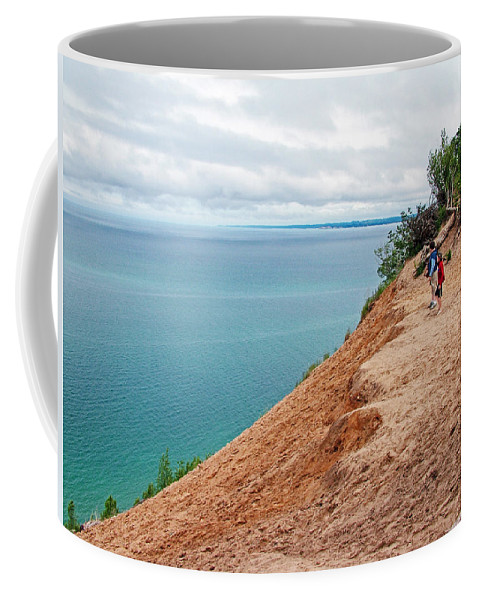 Dune Over Lake Michigan At Pyramid Point In Sleeping Bear Dunes National Lakeshore Coffee Mug featuring the photograph Dune Over Lake Michigan At Pyramid Point In Sleeping Bear Dunes National Lakeshore-michigan by Ruth Hager
