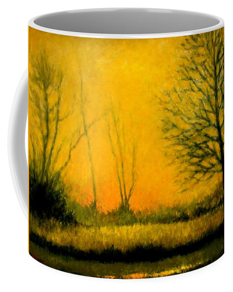 Landscape Coffee Mug featuring the painting Dusk At The Refuge by Jim Gola