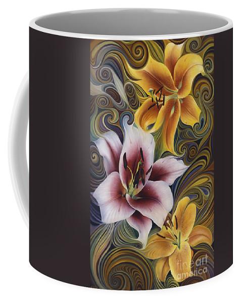 Flowers Coffee Mug featuring the painting Dynamic Triad by Ricardo Chavez-Mendez
