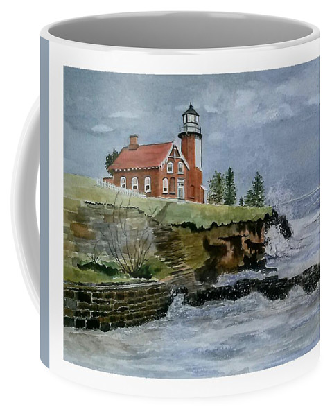 Lighthouse Coffee Mug featuring the painting Eagle Harbor Lighthouse by Debra L Pate