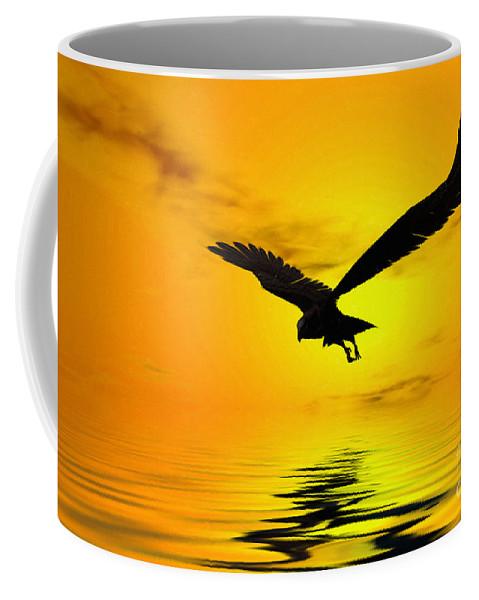Eagle Sunset Canvas Coffee Mug featuring the digital art Eagle Sunset by John Edwards