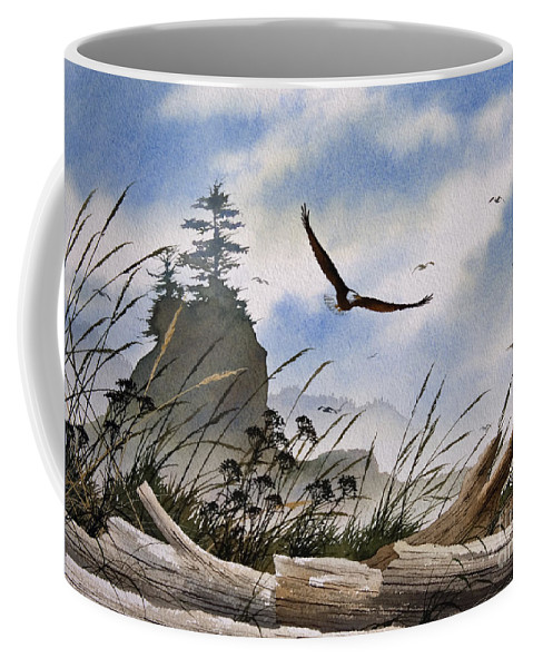 Eagle Fine Art Print Coffee Mug featuring the painting Eagles Home by James Williamson