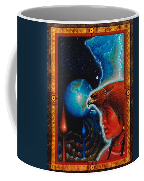 Native American Coffee Mug featuring the painting Eagle's Roost by Kevin Chasing Wolf Hutchins