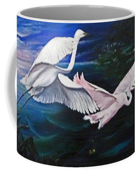 Snowy Egrets Coffee Mug featuring the painting Early Flight by Karin Dawn Kelshall- Best