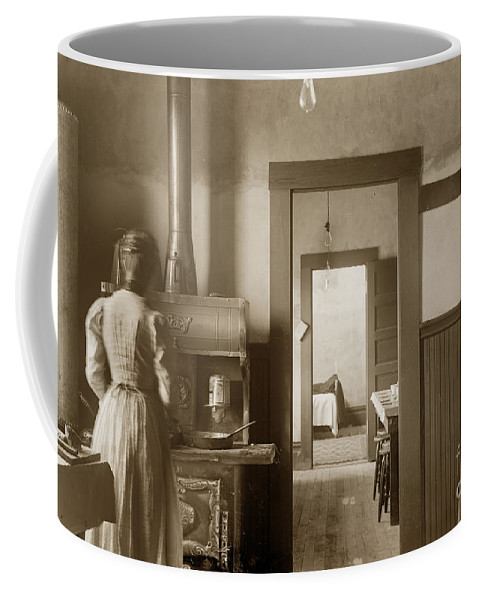 Wood Kitchen Coffee Mug featuring the photograph Early Kitchen With A Wood Kitchen Stove Circa 1906 by California Views Archives Mr Pat Hathaway Archives