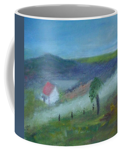 Landscape Coffee Mug featuring the painting Early Morning In Donegal by Mary Feeney