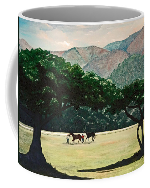 Trees Coffee Mug featuring the painting Early Morning Savannah by Karin Dawn Kelshall- Best