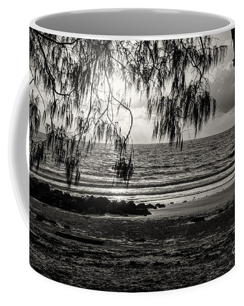 Port Douglas Australia Water Ocean Oceans Coral Sea Seas Sand Sands Sunrise Sunrises Dawn Storm Cloud Rain Storms Sun Waterscape Waterscapes Wave Waves Tree Trees Landscape Landscapes Rock Rocks Black And White Sepia Coffee Mug featuring the photograph Early Seaside Visit 3 by Bob Phillips