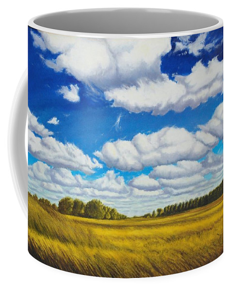 Wheat Coffee Mug featuring the painting Early Summer Clouds by Leonard Heid