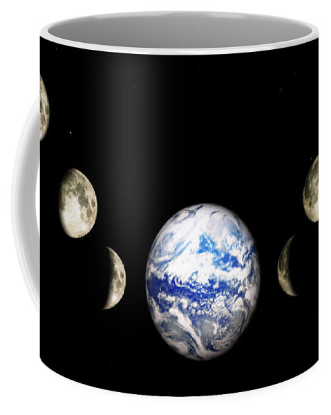 Earth Coffee Mug featuring the digital art Earth And Phases Of The Moon by Bob Orsillo