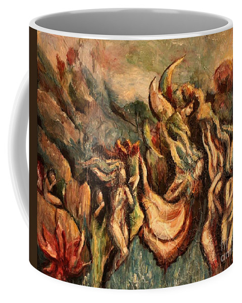 Angels Coffee Mug featuring the painting Earth Angels by Carrie Joy Byrnes