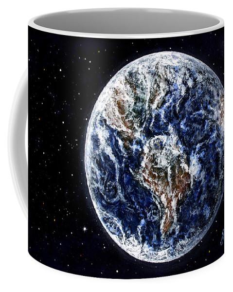 Earth Coffee Mug featuring the painting Earth Beauty Original Acrylic Painting by Georgeta Blanaru