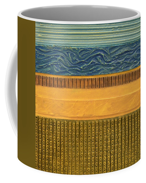 Abstract Coffee Mug featuring the painting Earth Layers Abstract L by Michelle Calkins