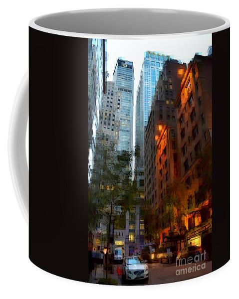 New York Coffee Mug featuring the photograph East 44th Street - Rhapsody In Blue And Orange by Miriam Danar