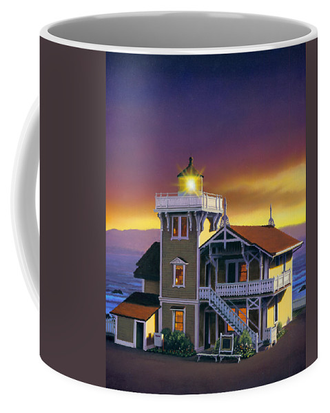 Lighthouse Coffee Mug featuring the photograph East Brother Lighthouse by MGL Studio - Chris Hiett