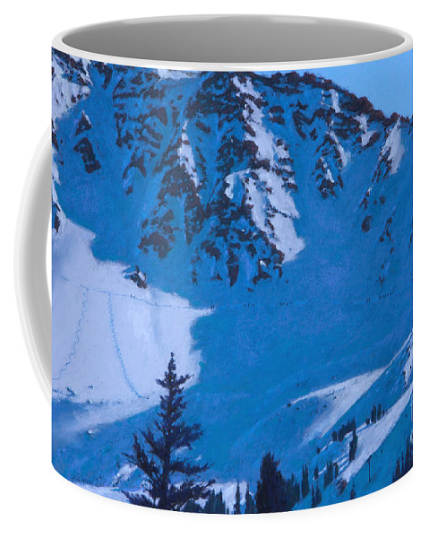 Arapahoe Basin Coffee Mug featuring the painting East Wall by Drew Gibson