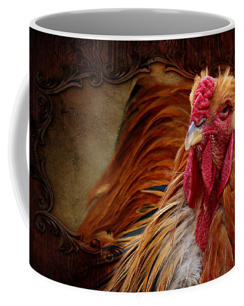Cock Coffee Mug featuring the mixed media Easter Cock by Heike Hultsch