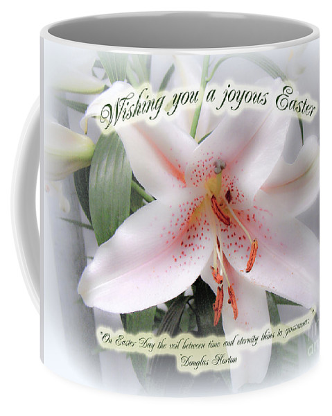 Easter Coffee Mug featuring the photograph Easter Greeting Card - White Lily With Quote by Mother Nature