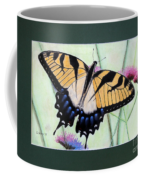 Eastern Tiger Swallowtail Coffee Mug featuring the photograph Eastern Tiger Swallowtail Butterfly By George Wood by Karen Adams