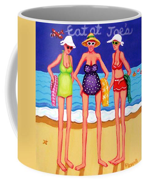 Whimsical Beach Coffee Mug featuring the painting Eat At Joes - Beach Gossip by Rebecca Korpita