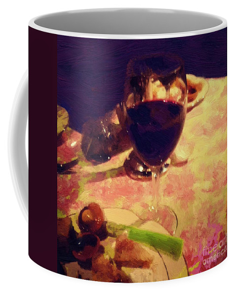 Dining Coffee Mug featuring the painting Eat Drink And Be Merry by RC DeWinter