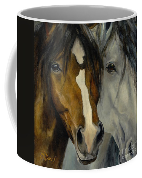Horse Coffee Mug featuring the painting Ebony And Ivory by Catherine Davis